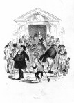 Caricature of people outside a workhouse.